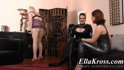 Ella Kross Making a Sissy Slut Dance and Suck Cock with Lady Asmondena!