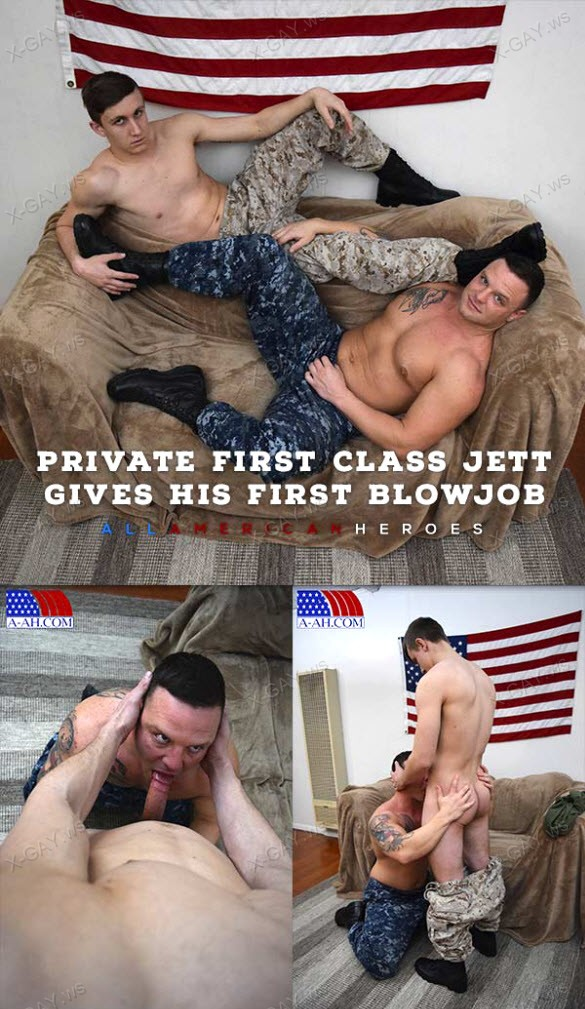 AllAmericanHeroes – Private First Class Jett Gives His First Blowjob