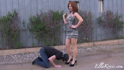 Ella Kross - Humiliating a Slave out in the Open!
