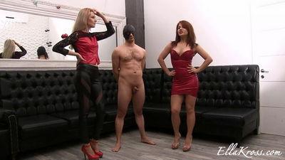 Ella Kross - Teaching My Friend Kate to Kick a Slave`s Balls!