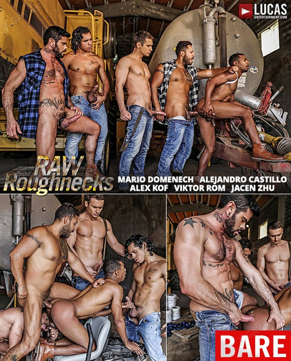 LucasEntertainment: Raw Roughnecks, Scene #2 (Alejandro Castillo, Alex Kof, Jacen Zhu, Mario Domenech, Viktor Rom) (Bareback)