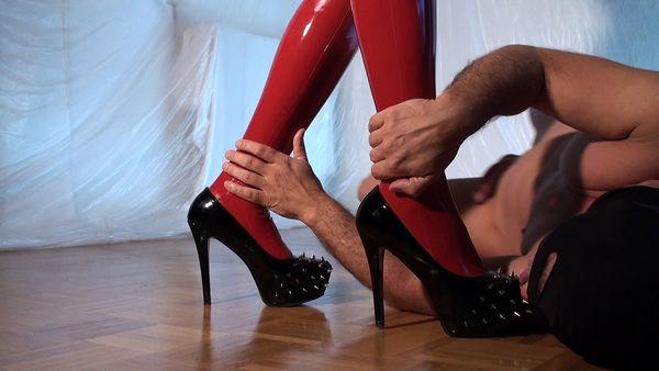 Shiny Latex and Spiked Heels - Mistress Ava Black