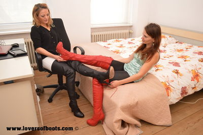 Lovers Of Boots - Jenny & Maria in Jimmy Choo and Red/White Thigh Boots