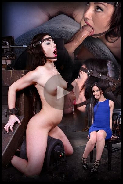(20.03.2015) Jennifer White shackled on sybian and bound in the blowjob machine, brutal drooling deepthroat