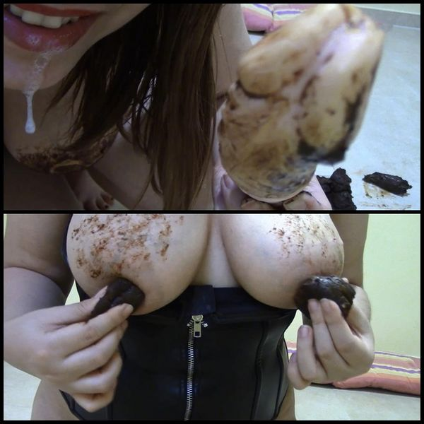 (28.04.2015) Smearing my tits – Solo Scat, Poopping, Shitting