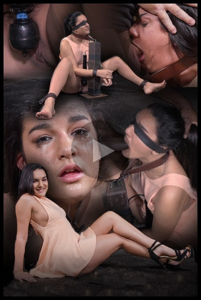 (10.06.2015) Cute brunette Paisley Parker blindfolded in strict bondage, vibrated while deepthroating BBC