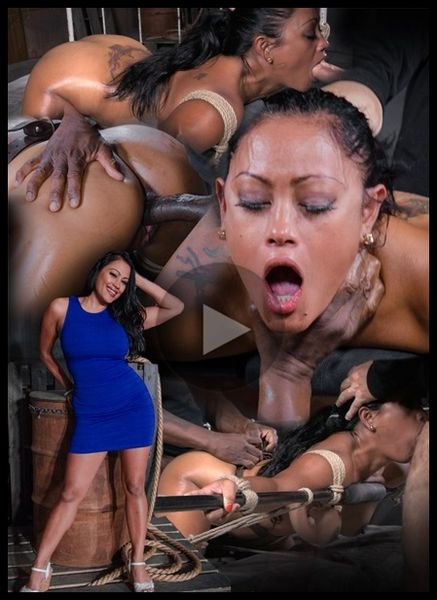 (14.08.2015) Exotic Maxine X tied face down ass up to bed with brutal blowjobs and rough anal fucking by BBC