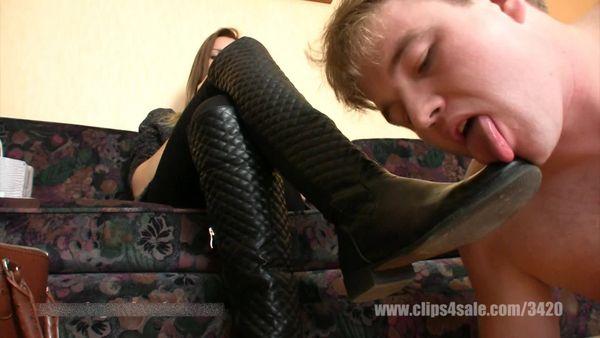 ElegantFemdom - Lady Demona - The Maid clean dirty street Boots