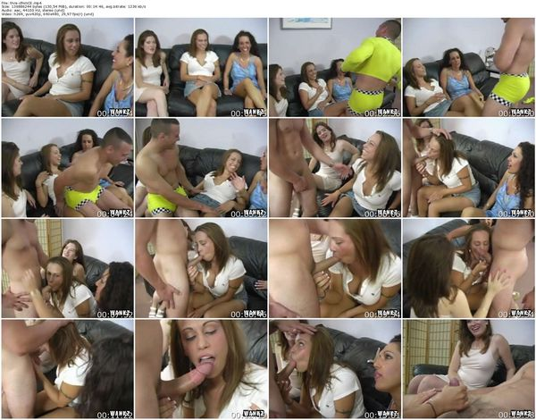 CFNMExposed - Vanessa, Trisha, Keri - Three Girls Share One Guy's Cock