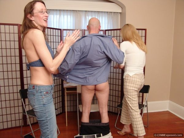 CFNMExposed - Dianne, Emilee - Two Clothed Girls Jerk Of A Naked Guy
