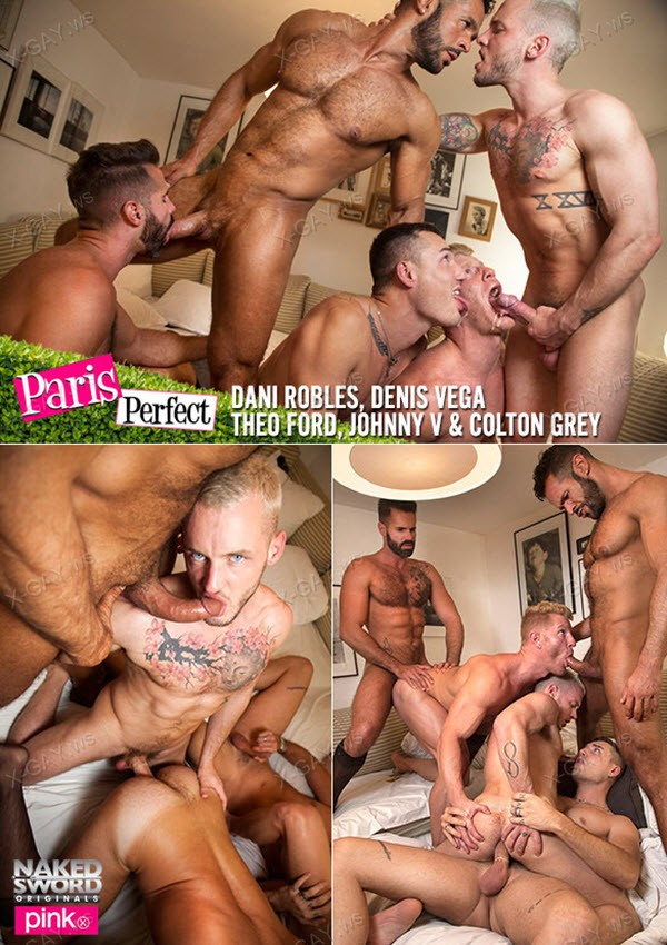 NakedSword: Colton Grey, Dani Robles, Denis Vega, Johnny V, Theo Ford (Paris Perfect)